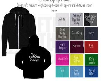 Your Custom Designed ZIP UP HOODIE-We Can Help You Design It! | Soft Hoodie | Workout Fitness Gym Jacket | Zip Up Sweater | Custom Hoodie
