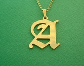 Monogram One Letter Necklace Gold Plated / Uppercase Initial Necklace / Monogram Necklace / Monogrammed Necklace / Graduation Gifts / Gift