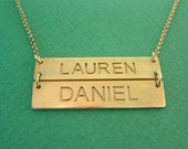 Two Engraved Name Bars Necklace Gold Plated / Double Name Plate Necklace / Name Bar Necklace / Name Necklace / silver bar necklace
