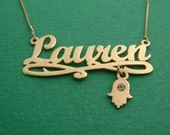 Lauren Style Gold Plated Name Necklace with Swirl ,Hamsa & Birthstone / Name Plate Necklace / Name Plate / Gold Plated Necklace / Gold Name