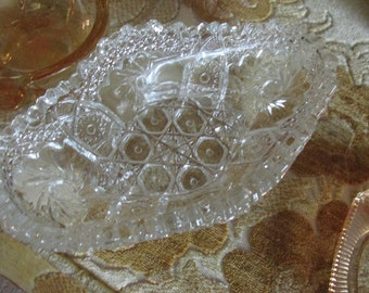 Crystal Sawtooth Relish/Pickle Dish  Boat Sale