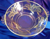 """Vintage Silver Overlay Caprice Cambridge Glassware 9.5"""" Bowl with Handles, Silver City Lily of the Valley Overlay, Home & Living, Kitchen"""