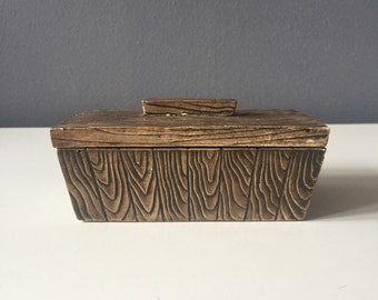Small Vintage Faux Bois Ceramic Keepsake / Trinket / Jewelry Box