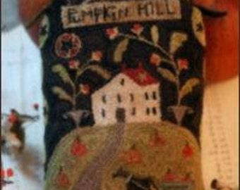 "PATTERN "" Pumpkin Hill"" primitive punch needle pattern"