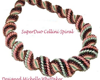 SuperDuo Cellini Spiral Neckalce Needlework Tutorial PDF