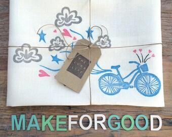Beach Cruiser Bicycle & Cloudy Heart Trail #makeforgood 100% Linen Kitchen Tea Towel