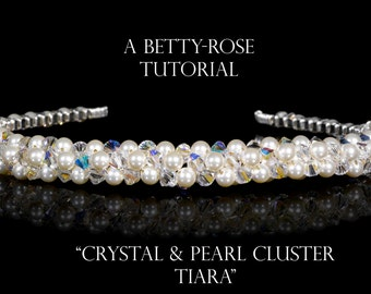 Instant Download PDF Tiara Tutorial Chunky Pearl and Crystal Pattern