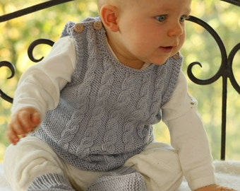 Sleeveless top for babies and children, Vest 100% merino wool superwash, low price