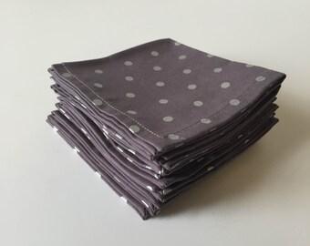 Gray and Silver Metallic Cloth Napkins (set of eight)