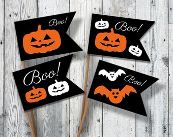 Halloween printable decor Party FLAGS - Halloween sign - Printable Cupcake topper with pumpkins ORANGE