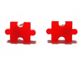 Jigsaw Puzzle Stud Earrings - Red // Jigsaw Earrings / Jigsaw Puzzle Studs / Jigsaw Puzzle Earrings / Puzzle Piece Earrings / Fun Earrings