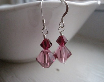 Pink Crystal Earrings/Simple Pink Earrings/Silver and Crystal Earrings/Silver and Pink Earrings/Stacked Crystal Earrings/Simple Earrings