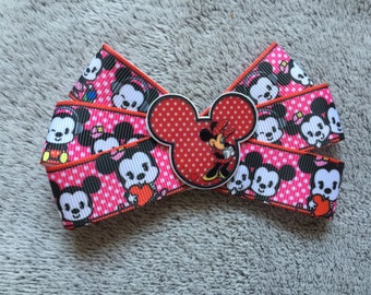 Minnie and Mickey Mouse Hair Bow Clip