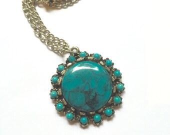 Turquoise vintage pendant necklace gunmetal pewter silver natural stone