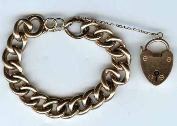 FREE SHIPPING-Victioran Era-Antique-9ct-Yellow-Gold-Curb Link-Charm Bracelet-Heart Padlock Clasp-W.H.W Ld-Wakefield