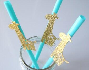 Giraffe Straws | Safari Straws Topper | Giraffe Straw Topper | Baby Shower Decoration | Birthday Party | Glittering Birthday (Set of 10)