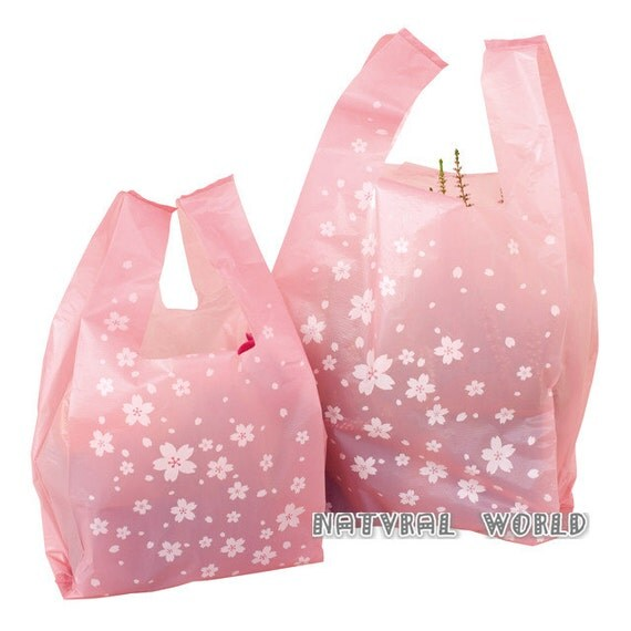 50 x pink cherry folding shopping bag gifts tote bag waistcoat for Plastic shirt bags wholesale