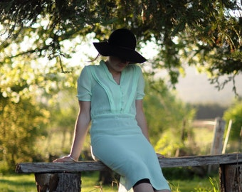 SALE Mint green boho vintage midi dress