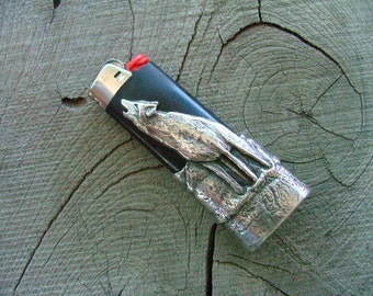 Solid Sterling Silver Howling Wolf Bic Lighter Case