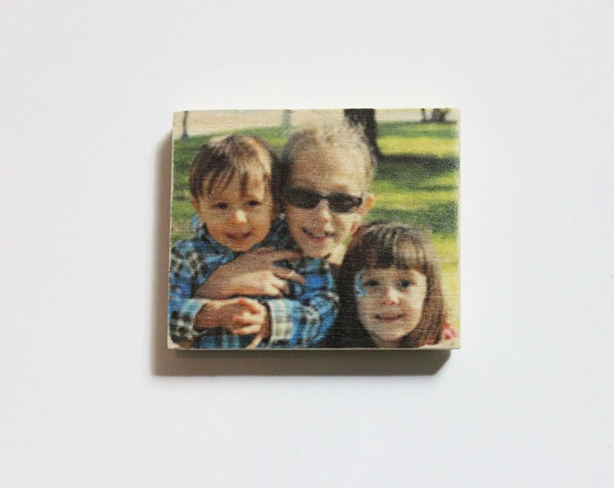 Set of 3 Photo Magnets - Your favorite photos on wooden magnets!
