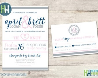 Tie The Knot Rope Beach Wedding Invitation, Chic Pink And Navy Printable  Summer Wedding Invite