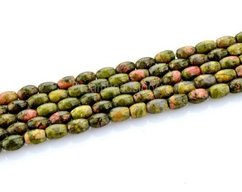 Green Unakite Jewelry DIY Making Supply, 4*6mm Oval Semi Precious Stone Beads