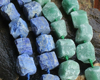 Large Chunky Raw Blue Lapis Lazuli/ Green Aventurine Rough Gemstone Nuggets Beads Supplies (WM72)
