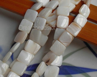 Natural Mother of Pearl Shell 9mm Square Shape Loose Beads Supplies