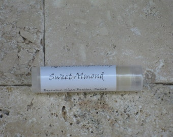 Sweet Almond Lip Balm - Free Ship, Beeswax, Natural, Sweet Almond Oil, Shea Butter, Unflavored, Honey
