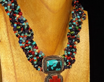 Braided Necklace/ Chunky Necklace Statement/ Multi strand necklace/ multi color necklace/ braided necklace