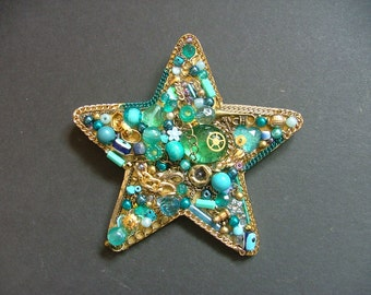 Blue and Gold Star, Jewellery Collage, Wall Hanging