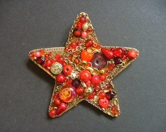 Red and Gold Star, Jewellery Collage, Handmade Gift