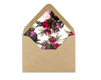 Printable Maroon and Light Pink Floral Envelope Liner/Patterned Backer 8.5 x 11 - INSTANT DOWNLOAD