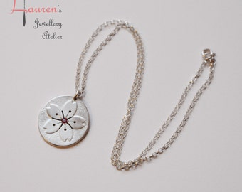 Sakura flower necklace with ruby