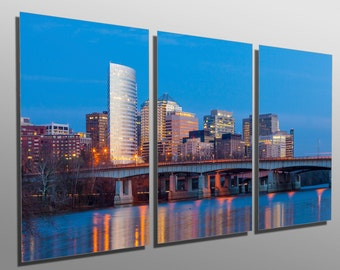 Metal Prints - Rosslyn skyscrapers, Washington DC -3 Panel split, Triptych - Metal wall art HD aluminum prints for decor & interior design
