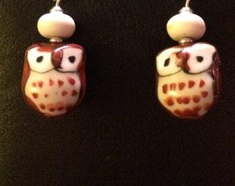 Adorable porcelain owl earrings