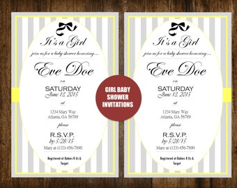 Yellow, Gray and White Striped Bow Baby Girl Personalized Baby Shower Invitation