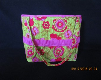 Green, pink, and red flower print Diaper bag