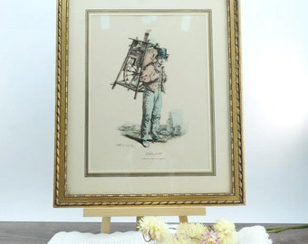 Antique wood frame with engraving 'Small-time' Carle Vernet - the small business in Paris - engraving French 19th Century