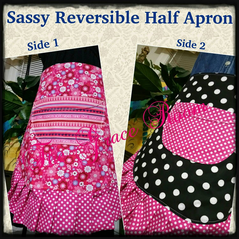Sassy Reversible Half Apron With Pocket