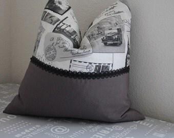 Cushion cover retro / grey 50 x 50