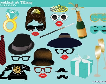 Breakfast at Tiffany's Party Photo Booth Prop, Instant Download,Party Printable - Audrey Hepburn, Engagement, Bachelorette Party