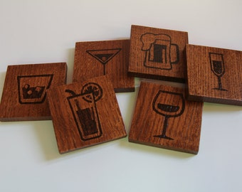 Set of 4 or 6 coasters beverages - Set of 4 or 6 Beverages coasters