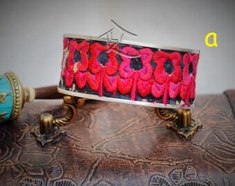 Miao ethnic minority silver cuff bracelet - embroided boho chinese handmade