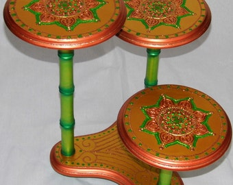BAMBOO STYLE STAND Iridescent Hand Painted Copper, Oranges, Greens Tri-Plant Stand