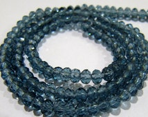 AAA Quality London Blue Topaz Color Beads , 150 Beads approx per Strand , 3-4mm Size Crystal Beads ,  Rondelle Faceted Hydro Quartz Beads
