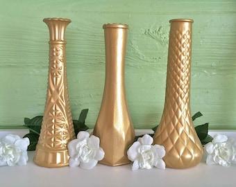 Gold Vases, Gold Wedding, Gold Centerpieces, Gold Bud Vase, Gold Decor