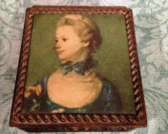 Madame de Pompadour, Mistress to Louis the XV, King of France, French Trinket Box, Jewel Box, Vanity Jewel Box, Vintage Trinket Box
