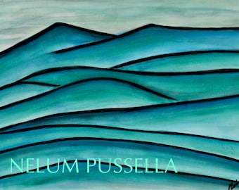 Teal Mountains-Giclee print of Watercolor painting
