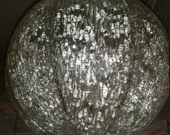 Murano Brass Pressed Crystal Ball Chandelier 1950s